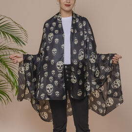 Black Skull Pattern 100% Mulberry Silk Scarf (Size 175x110 Cm)