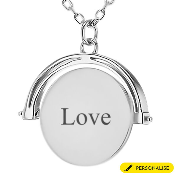 Personalised Silver Spinner Disc Necklace, Size 17+1 Inch