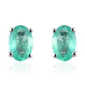 0.85 Ct AA Boyaca Colombian Emerald Solitaire Stud Earrings in 9K White Gold
