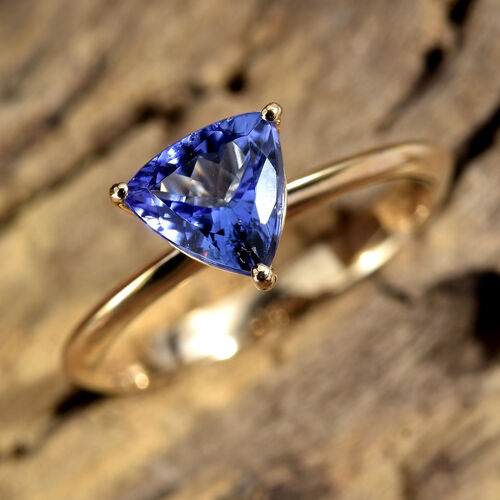 Close Out Deal- 14K Yellow Gold Tanzanite (Trl 6.5 mm) Solitaire Ring 1.000 Ct.