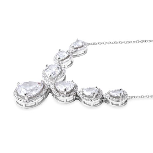 ELANZA Simulated Diamond (Pear and Rnd) Necklace (Size 18) in Rhodium Overlay Sterling Silver, Silver wt 10.56 Gms