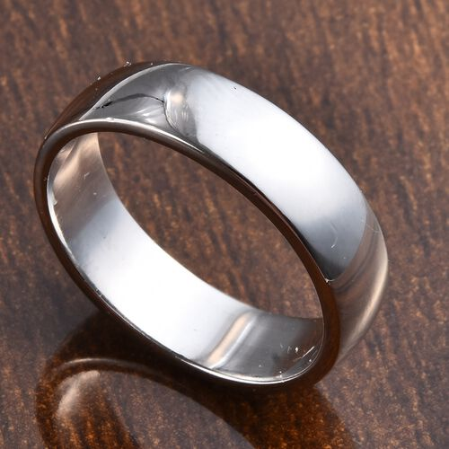Platinum Overlay Sterling Silver Plain Band Ring