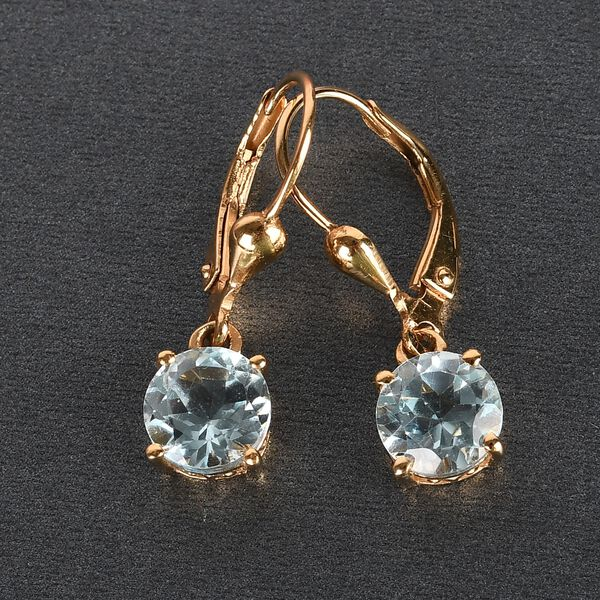 MP AA Sky Blue Topaz (Rnd) Lever Back Earrings in 14K Gold Overlay Sterling Silver 3.26 Ct.