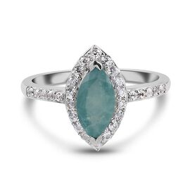 Grandidierite and Natrural Cambodian Zircon Ring in Platinum Overlay Sterling Silver 1.64 Ct.