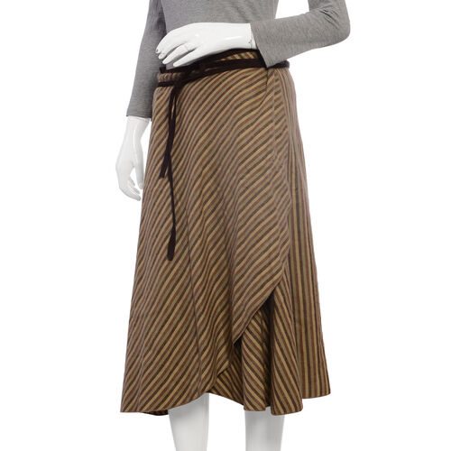 Beige Brown and Multi Colour Wrap Skirt Free Size