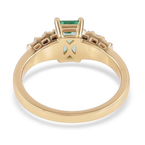 1.20 Ct AAA Boyaca Colombian Emerald and Diamond Ring in 9K Gold
