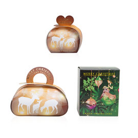 The English Soap Company: Luxury Guest Soaps (Reindeer) - 3x20g, Large Gift Soap - 260g & Pure Soy W