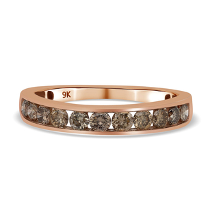 9K Rose Gold  Champagne Diamond Ring in Rhodium Overlay 1.00 ct,  Gold Wt. 2 Gms  1.000  Ct.