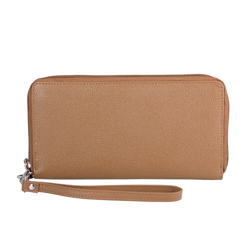 Super Soft 100% Genuine Nappa Leather RFID Clutch Wallet in Tan (19.8x10.9cm)