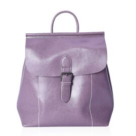 100% Genuine Leather Purple Colour Backpack with External Zipper Pocket (Size 25x12x30 Cm)