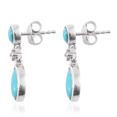 Arizona Sleeping Beauty Turquoise (Pear), Natural Cambodian Zircon Earrings (with Push Back) in Platinum Overlay Sterling Silver 2.500 Ct.