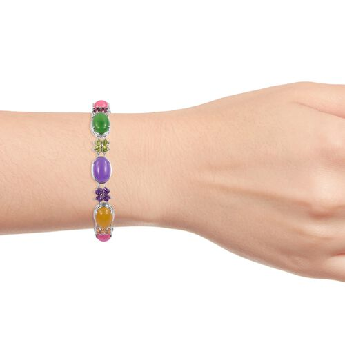 Yellow, Pink, Purple and Multi Colour Jade and Multi Gemstone Bracelet (Size 8.75) in Rhodium Plated Sterling Silver 67.520 Ct. Silver wt 17.81 Gms.