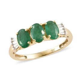 1.25 Carat AA Emerald and Diamond 3 Stone Ring in 9K Gold 1.81 Grams