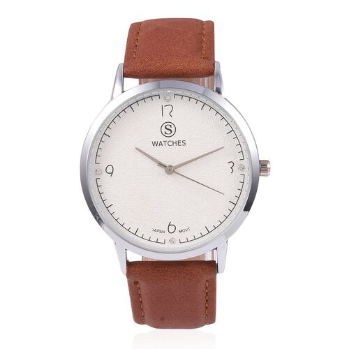 STRADA Japanese Movement Water Resistant White Austrian Crystal Studded Watch with Brown Colour Stra