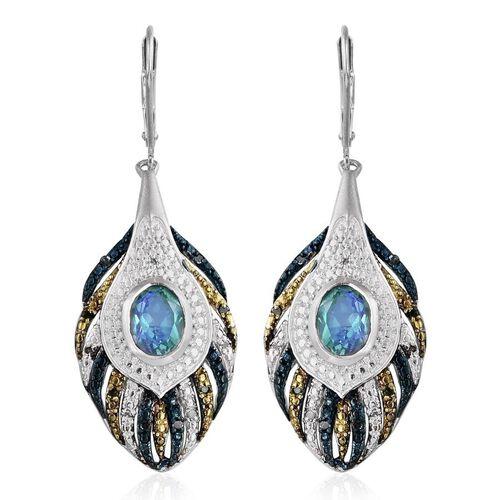 Peacock Quartz (Ovl), Blue and White Diamond Lever Back Earrings in Platinum Overlay Sterling Silver 3.250 Ct.