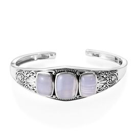 Artisan Crafted Blue Lace Agate (Cush) Cuff Bangle (Size 7.5) in Sterling Silver 23.00 Ct, Silver wt