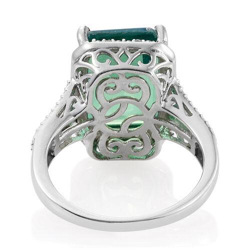Peacock Quartz (Oct), Diamond Ring in Platinum Overlay Sterling Silver 8.000 Ct.