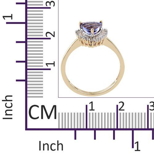 9K Yellow Gold AA Tanzanite (Trl 1.40 Ct), Diamond Ring 1.650 Ct.