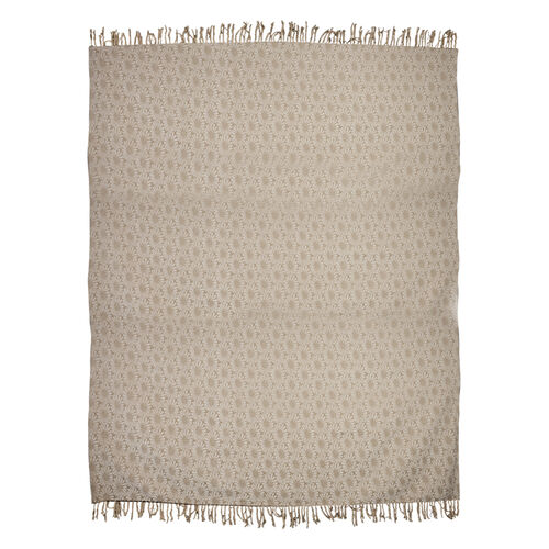 King Size Daisy Jacquard Woven Cotton Chenille Bedspread in Beige and Off White Colour (260x240 cm)