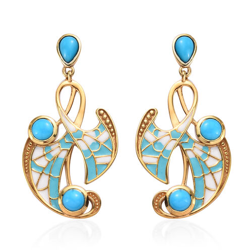 Arizona Sleeping Beauty Turquoise Enamelled Earrings (with Push Back) in in 14K Gold Overlay Sterlin
