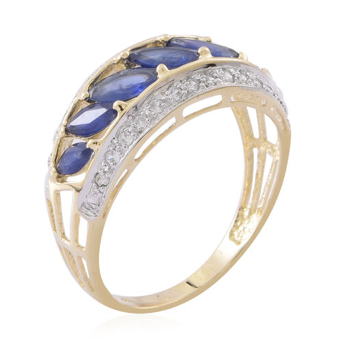 9K Yellow Gold AAA Kanchanaburi Blue Sapphire (Mrq), Natural White Cambodian Zircon Ring 3.150 Ct.