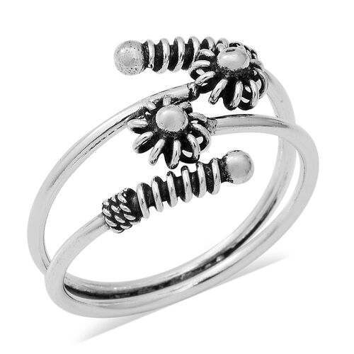 Floral Bypass Ring in Sterling Silver