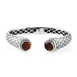 Bali Legacy Collection Amber (Rnd) Bangle (Size 7) in Sterling Silver.Silver Wt 25.00 Gms