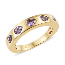 Rose De France Amethyst (Pear) Ring in 14K Gold Overlay Sterling Silver 0.75 Ct.