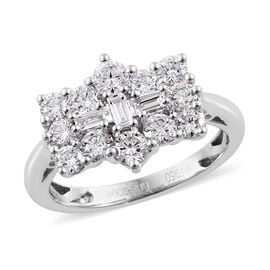 RHAPSODY 950 Platinum IGI Certified Diamond (Rnd and Bgt) (VS/E-F) Boat Ring 1.00 Ct.