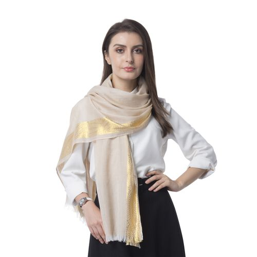 Iced Coffee Colour Golden Stip Pattern in 2 Side Scarf (Size 180x68 Cm)