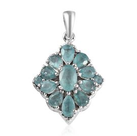 Grandidierite (Ovl) Cluster Pendant in Platinum Overlay Sterling Silver 2.00 Ct.