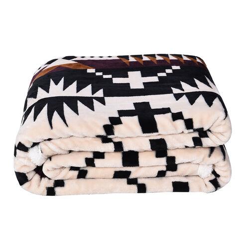 Serenity Night - Santa Fe Collection - Flannel Sherpa Blanket (200x150cm) - Black, Cream and Multi -