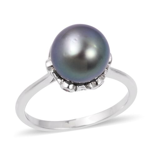 Tahitian Pearl (Rnd 10-10.5mm), Natural White Cambodian Zircon Ring in Rhodium Plated Sterling Silver