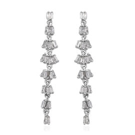 0.50 Carat Diamond Dangle Earrings in Platinum Plated Sterling Silver