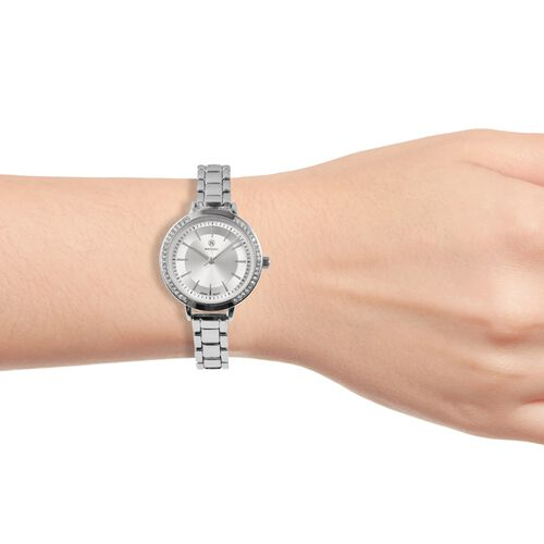 STRADA Japanese Movement White Austrian Crystal Studded Water Resistant Watch in Stainless Steel