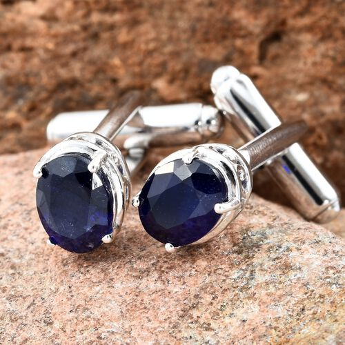 Limited Edition-Masoala Sapphire (Ovl) Cufflink in Platinum Overlay Sterling Silver 5.750 Ct. Silver wt 5.99 Gms.