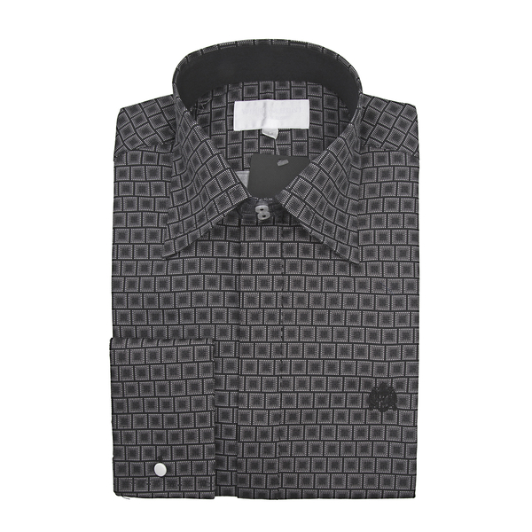 William Hunt - Saville Row Forward Point Collar Black and White Shirt (Size 16.5)