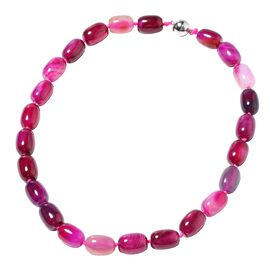 Designer Inspired- One Time Deal Fuchsia Colour Agate Necklace (Size 19) with Magnetic Lock