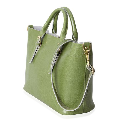 100% Genuine Leather Apple Green Colour Tote Bag with Removable Shoulder Strap (Size 38x32x24x13 Cm)