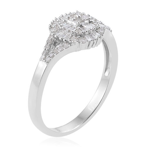 Diamond Platinum Overlay Sterling Silver Ring  0.515  Ct.