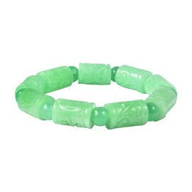 212.73 Ct Carved Green Jade Beaded Stretchable Bracelet Size 8 Inch