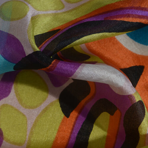 100% Mulberry Silk Cream, Orange and Multi Colour Handscreen Printed Scarf (Size 180x100 Cm)