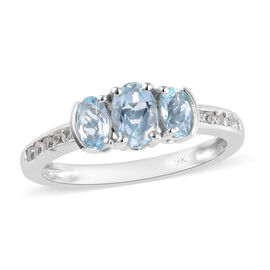1 Ct AA Espirito Santo Aquamarine and Natural Cambodian Zircon Trilogy Ring in 9K White Gold
