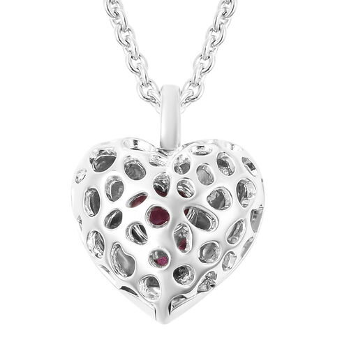 RACHEL GALLEY Angel Heart Collection - African Ruby Lattice Heart Locket Pendant with Chain (Size 20