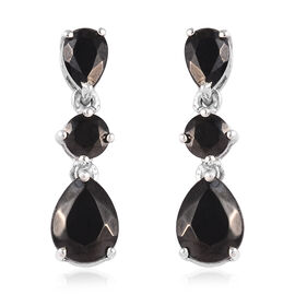 Elite Shungite (Pear and Rnd) Earrings (with Push Back) in Platinum Overlay Sterling Silver 4.90 Ct.