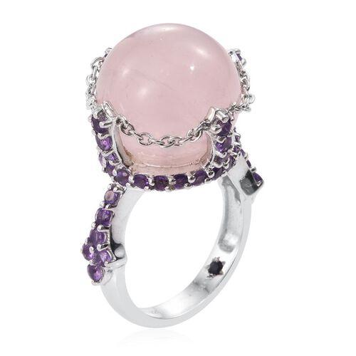 GP Rose Quartz (Rnd), Amethyst and Kanchanaburi Blue Sapphire Ring in Platinum Overlay Sterling Silver 23.000 Ct.
