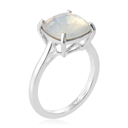 J Francis - Crystal From Swarovski - Swarovski White Opal Crystal (Cush) Solitaire Ring in Sterling Silver