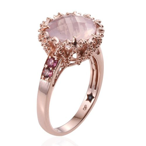GP Rose Quartz (Rnd 6.15 Ct), Pink Tourmaline and Kanchanaburi Blue Sapphire Ring in Rose Gold Overlay Sterling Silver 6.500 Ct.