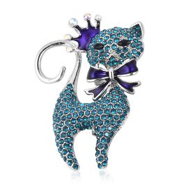Blue and White Austrian Crystal and Simulated Black Spinel Kitty Design Brooch with Enameled in Silv