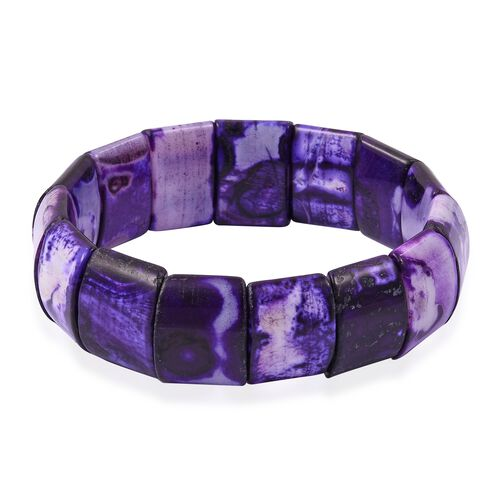 Purple Agate (Cush) Stretchable Bracelet (Size 7.5) 317.000 Ct